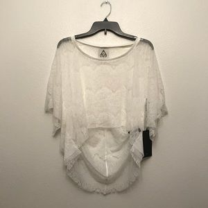 NWT UNIF Poncho Sleeve White Lace Top